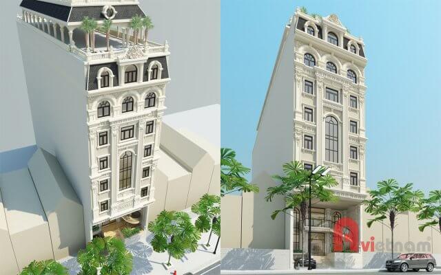 Mẫu khách sạn 10 tầng kiến trúc cổ điển sang trọng tại Hà Tĩnh