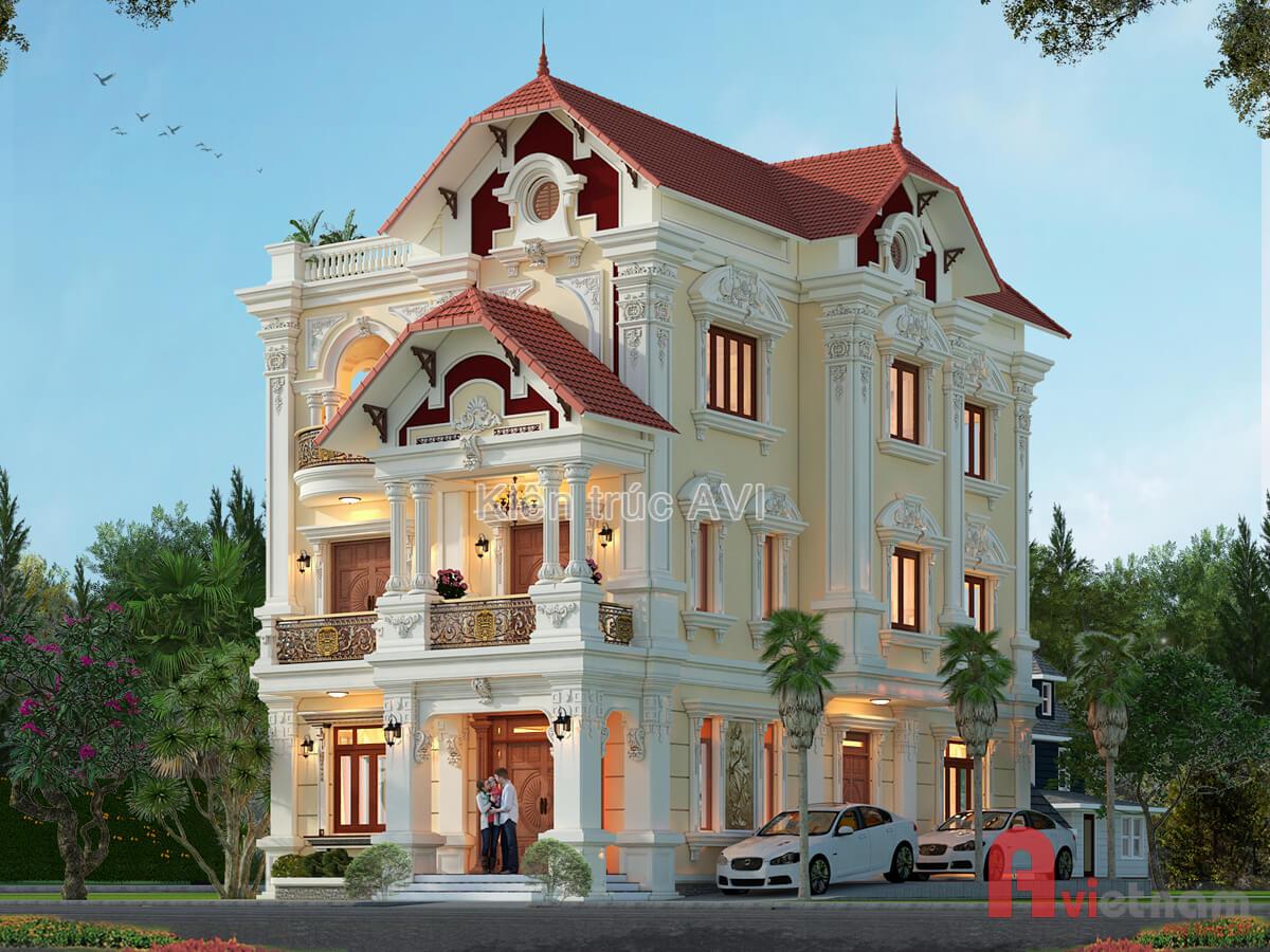 Thiết kế biệt thự 3 tầng kiến trúc Pháp