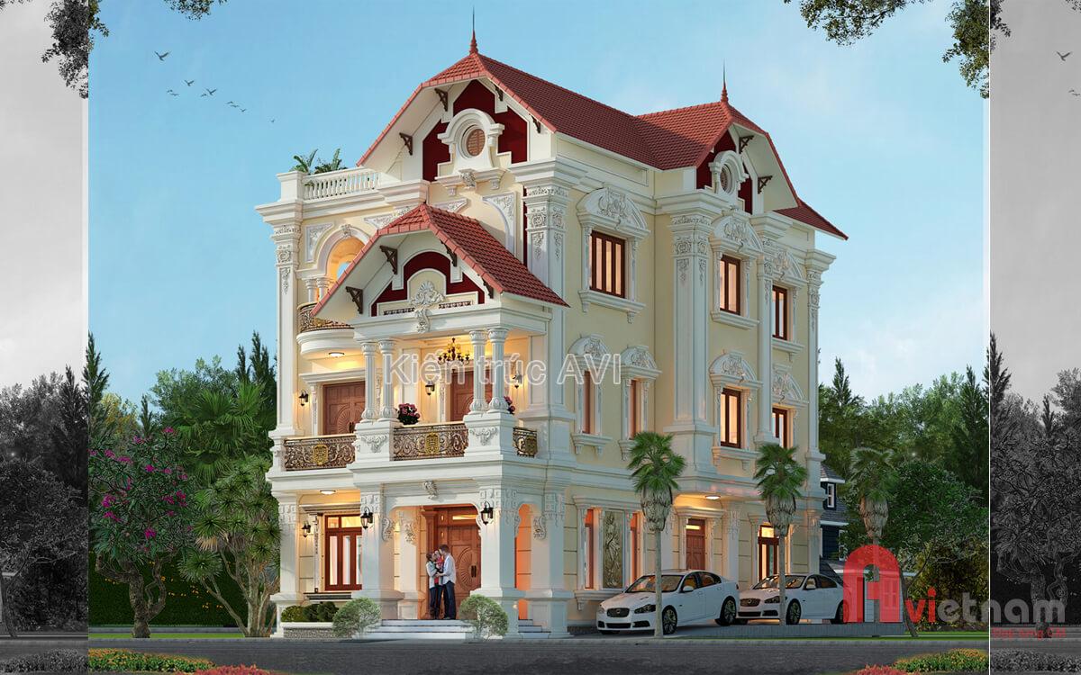 Thiết kế biệt thự 3 tầng kiến trúc Pháp tại Gia Lâm, Hà Nội