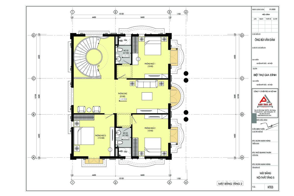 Mặt bằng thiết kế biệt thự cổ điển 2 tầng