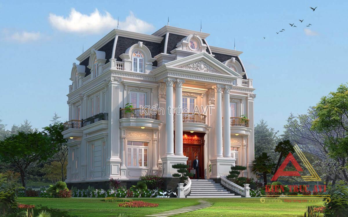 Mẫu biệt thự 2 tầng cổ điển Pháp mái Mansard