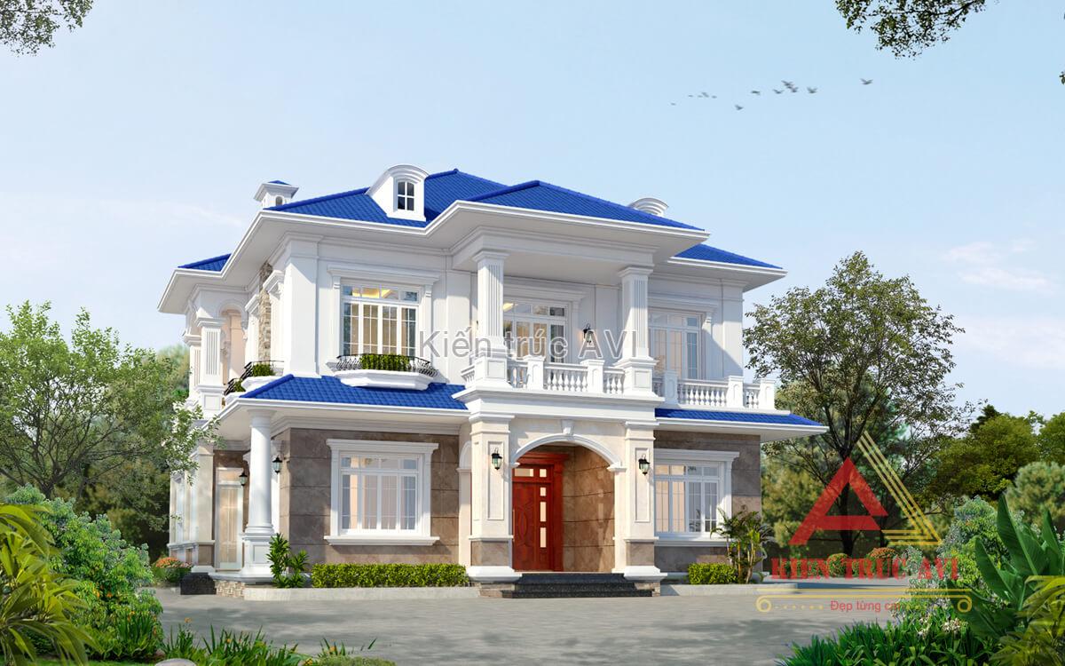 Thiết kế biệt thự 2 tầng tân cổ điển mái thái tại Vĩnh Phúc