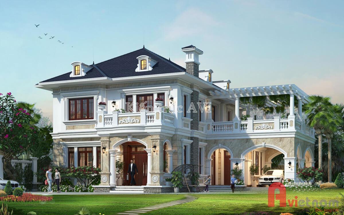 Thiết kế biệt thự 2 tầng tân cổ điển mái thái