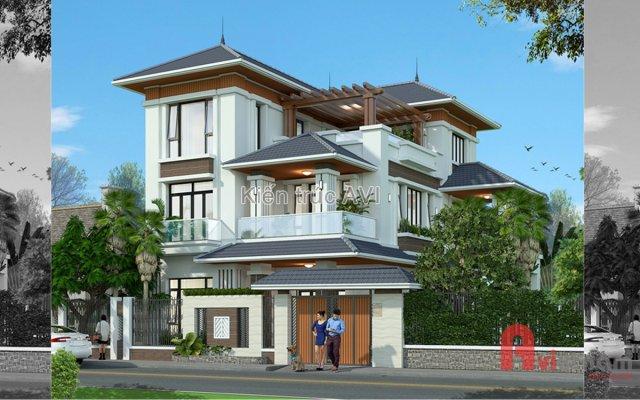 Mẫu thiết kế biệt thự 3 tầng hiện đại mái thái ở Quảng Ninh