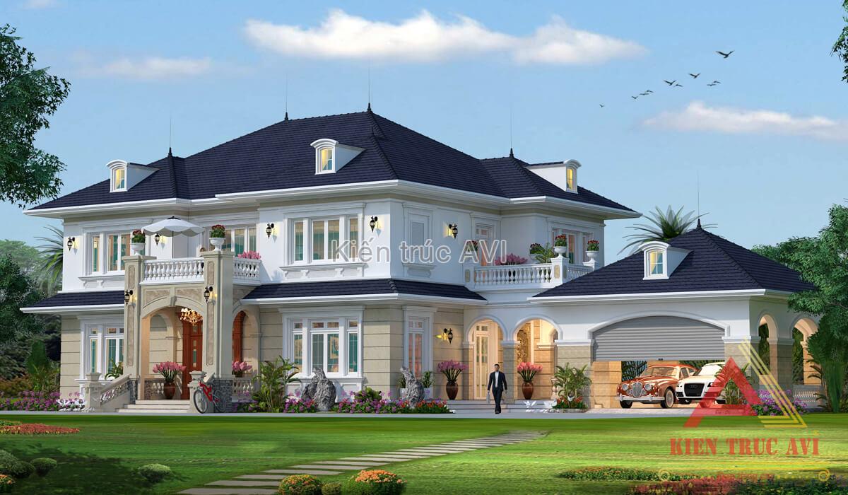 Biệt thự kiểu mái thái với kiến trúc 2 tầng