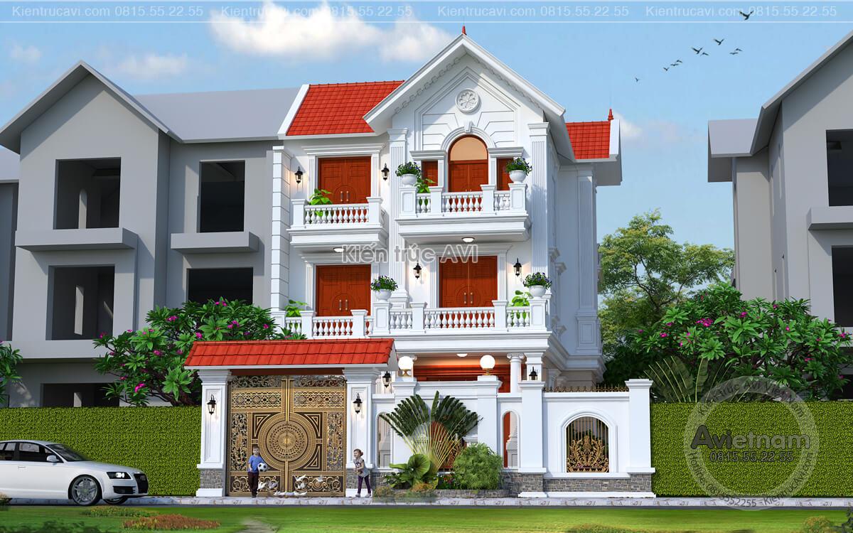 Thiết kế biệt thự 3 tầng tân cổ điển mái thái tại Gia Lâm