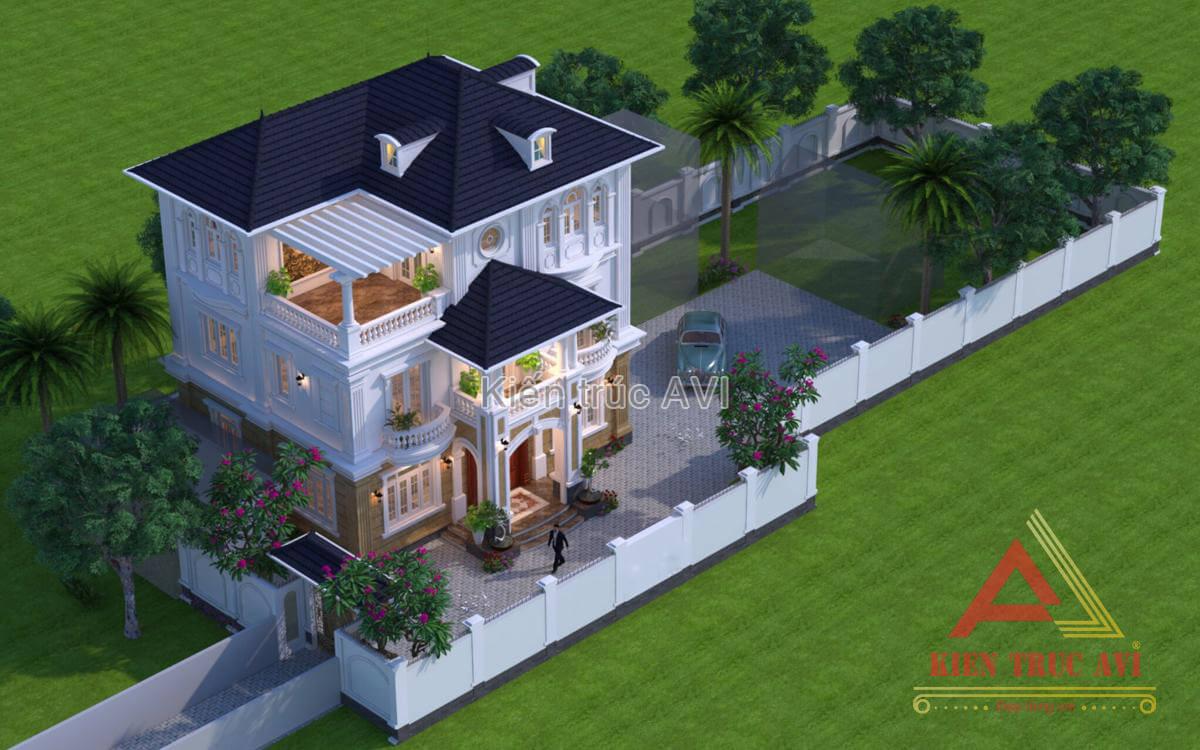 Mẫu biệt thự 3 tầng tân cổ điển mái thái