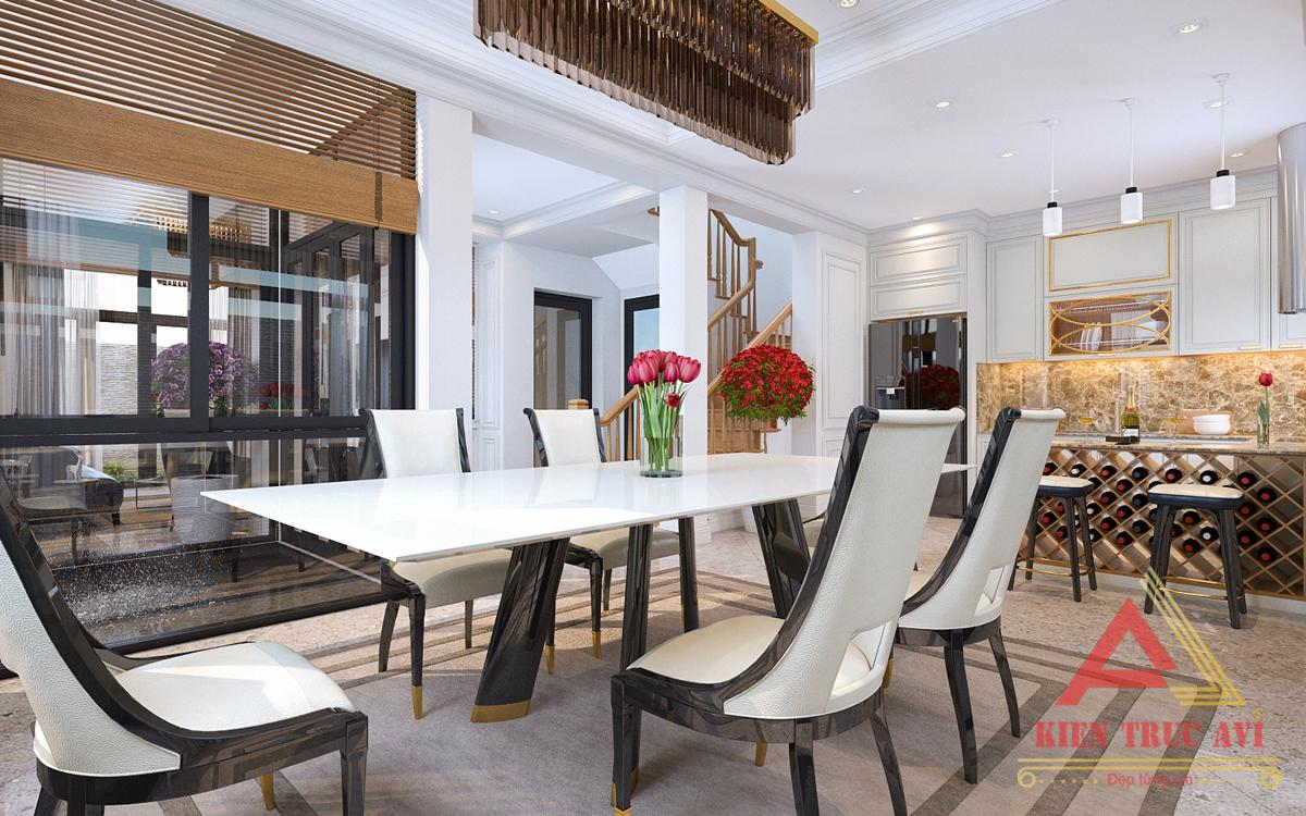 Nội thất phòng bếp + phòng ăn cho biệt thự