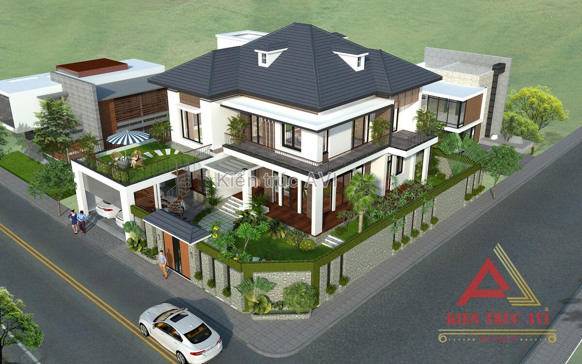 Mẫu biệt thự 2 tầng hiện đại mái thái tại Điện Biên - AVI Việt Nam