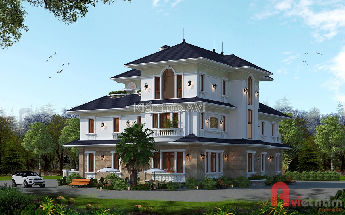 Mẫu thiết kế biệt thự 3 tầng mang phong cách tân cổ điển