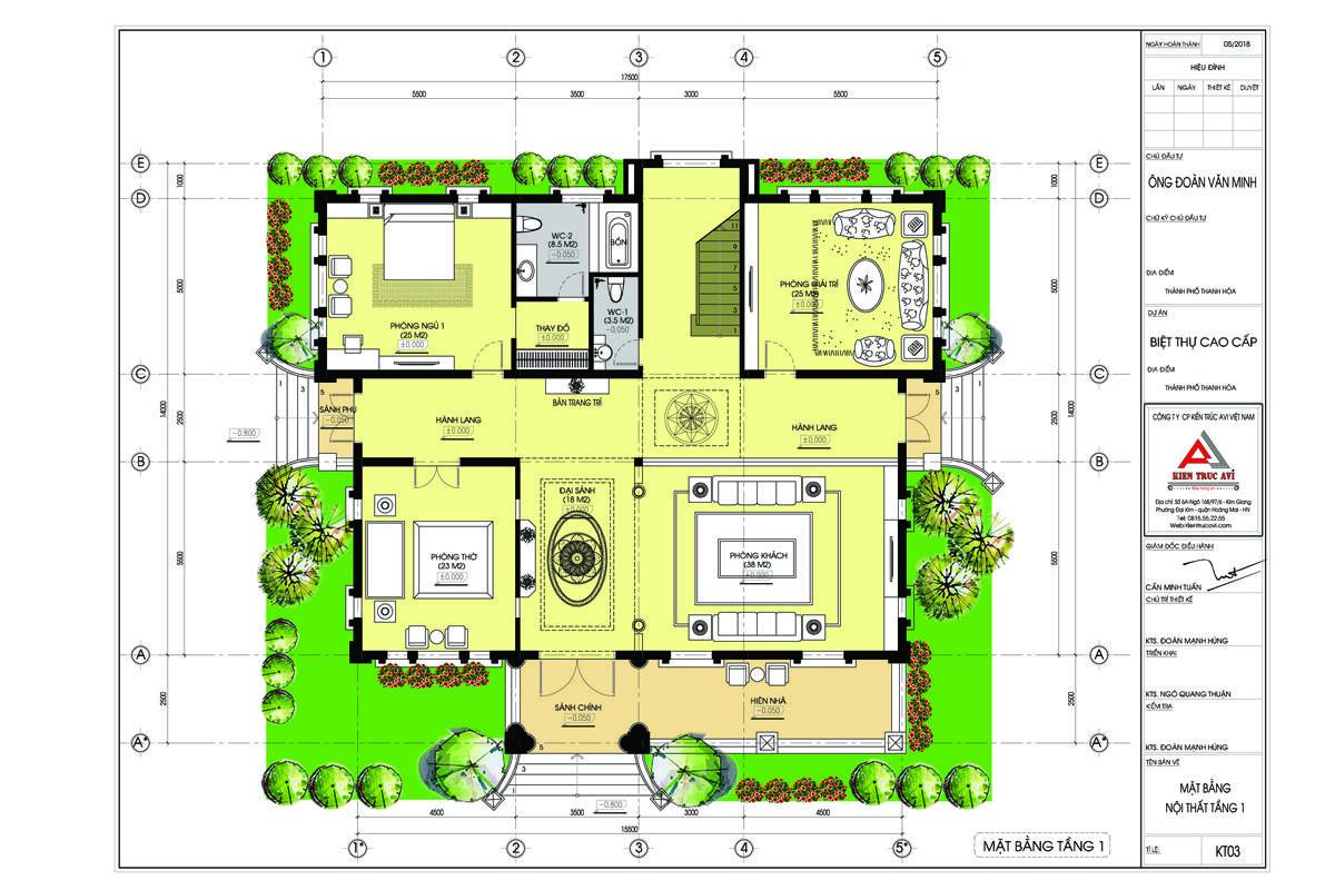 Mặt bằng mẫu biệt thự 3 tầng tân cổ điển mái thái