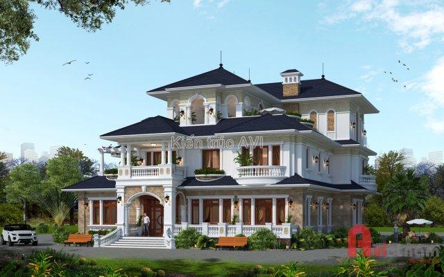 Thiết kế biệt thự 3 tầng tân cổ điển SIÊU ĐẸP tại Thanh Hóa