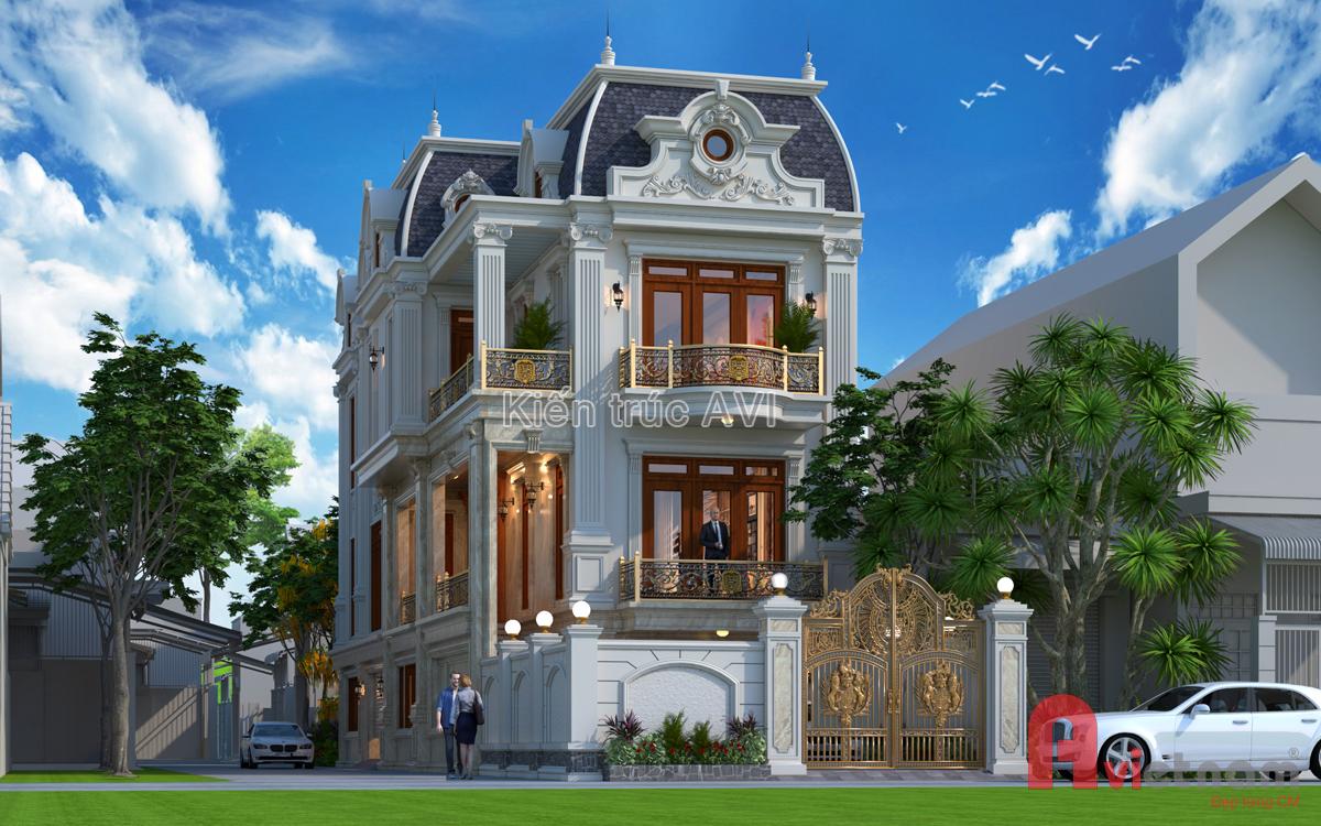 Mẫu thiết kế biệt thự 3 tầng tân cổ điển kiểu mái mansard