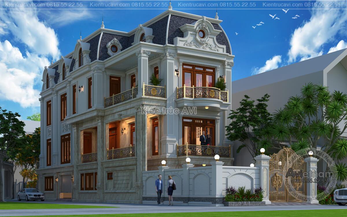 Mẫu biệt thự 3 tầng tân cổ điển mái mansard tại Thanh Hóa