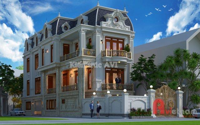 Mẫu biệt thự 3 tầng tân cổ điển mái mansard