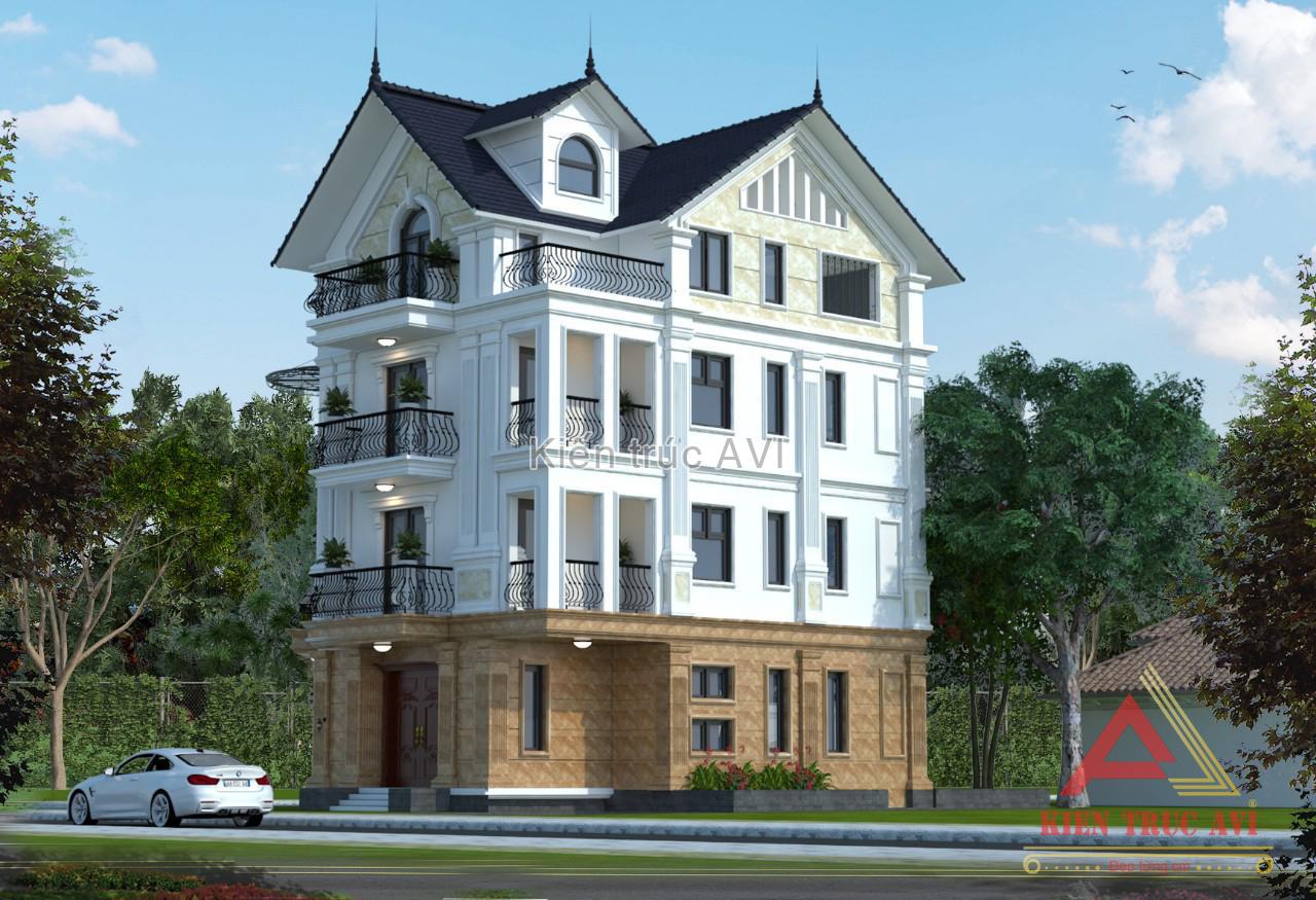 Hình ảnh 3D cải tạo biệt thự 4 tầng tân cổ điển mái thái
