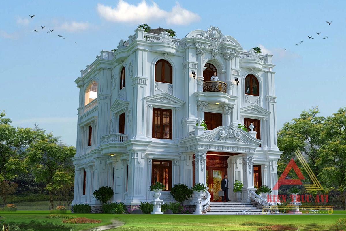 Mẫu dinh thự 3 tầng đẹp kiến trúc cổ điển Pháp