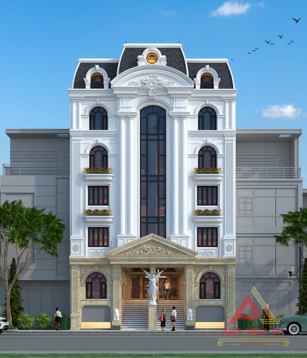 Thiết kế tòa nhà văn phòng kiến trúc pháp