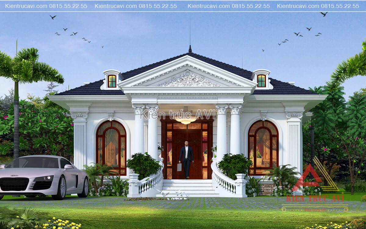Thiết kế biệt thự vườn 1 tầng nhỏ xinh kiến trúc tân cổ điển