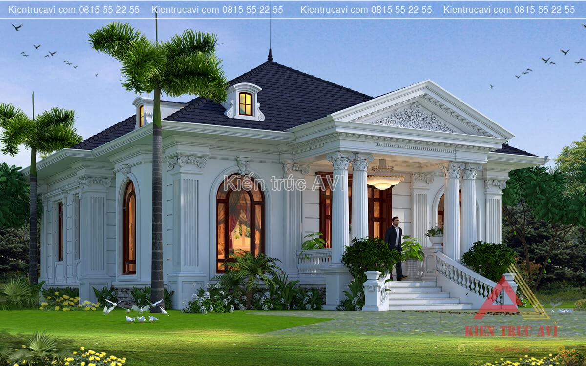 Thiết kế biệt thự vườn 1 tầng kiến trúc tân cổ điển