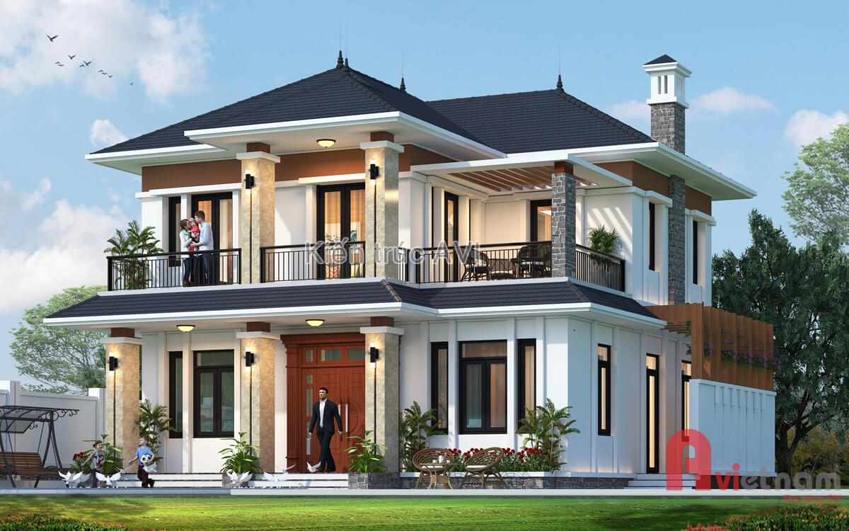 Thiết kế biệt thự 2 tầng hiện đại kiểu mái thái tại Hà Nội