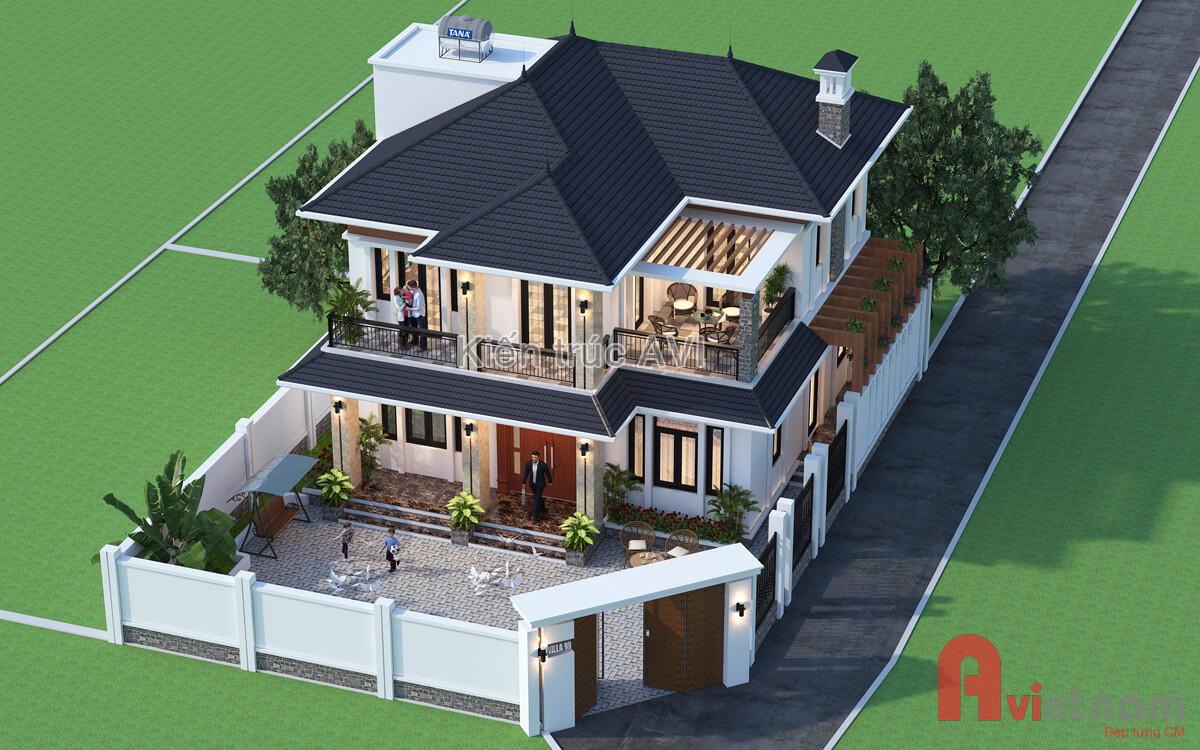 Thiết kế biệt thự 2 tầng hiện đại kiểu mái thái