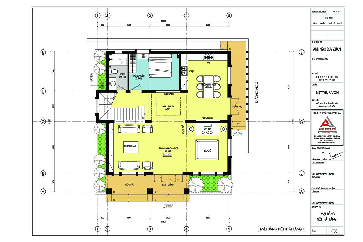 Mặt bằng mẫu biệt thự 2 tầng hiện đại