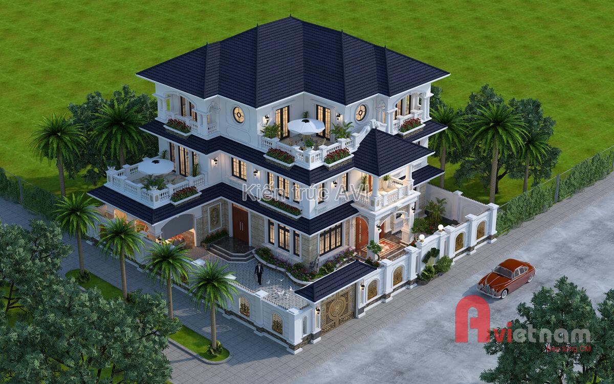 Thiết kế biệt thự 3 tầng tân cổ điển mái thái tại Quảng Ninh