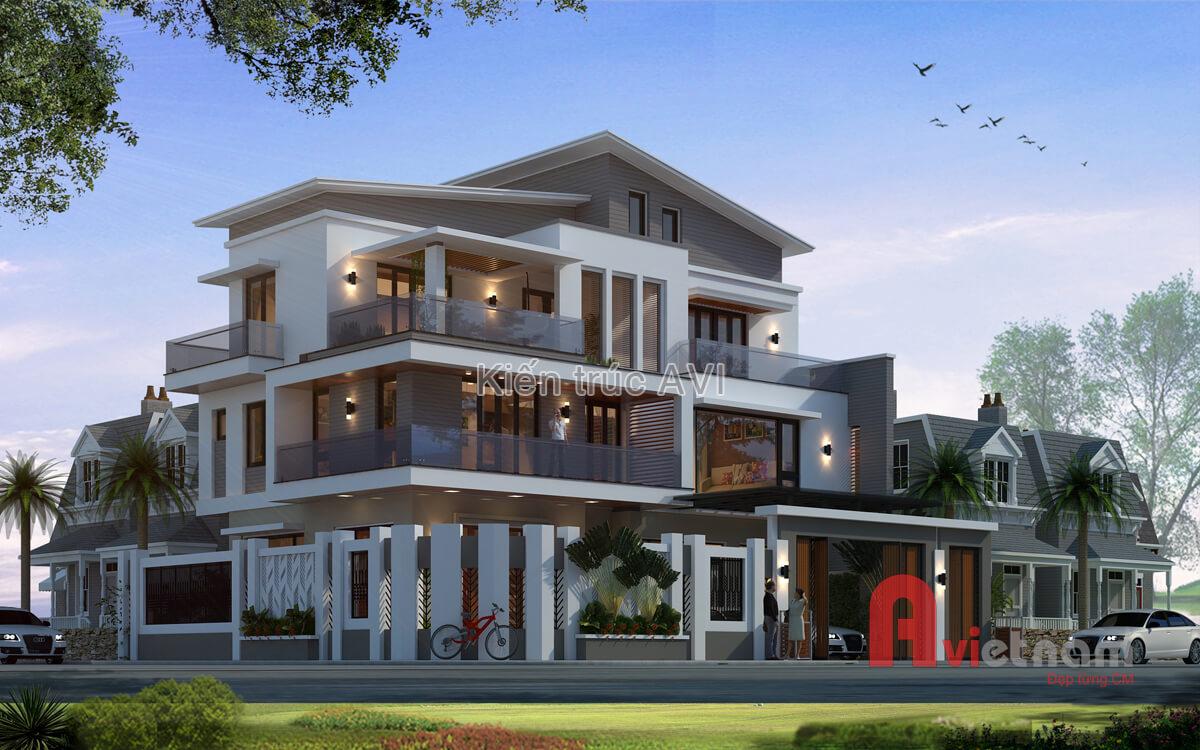 Mẫu thiết kế biệt thự hiện đại 3 tầng kiểu mái Nhật ở Hà Nội