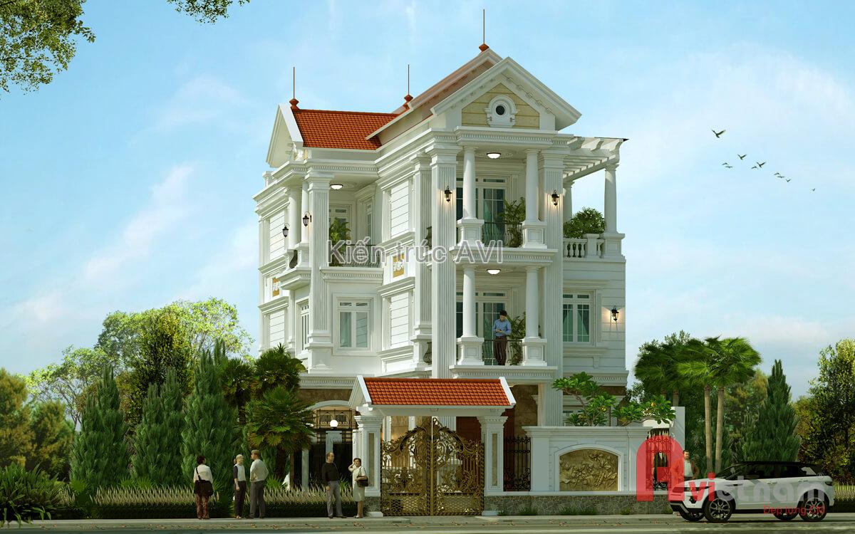 Mẫu thiết kế biệt thự 3 tầng kiểu mái thái