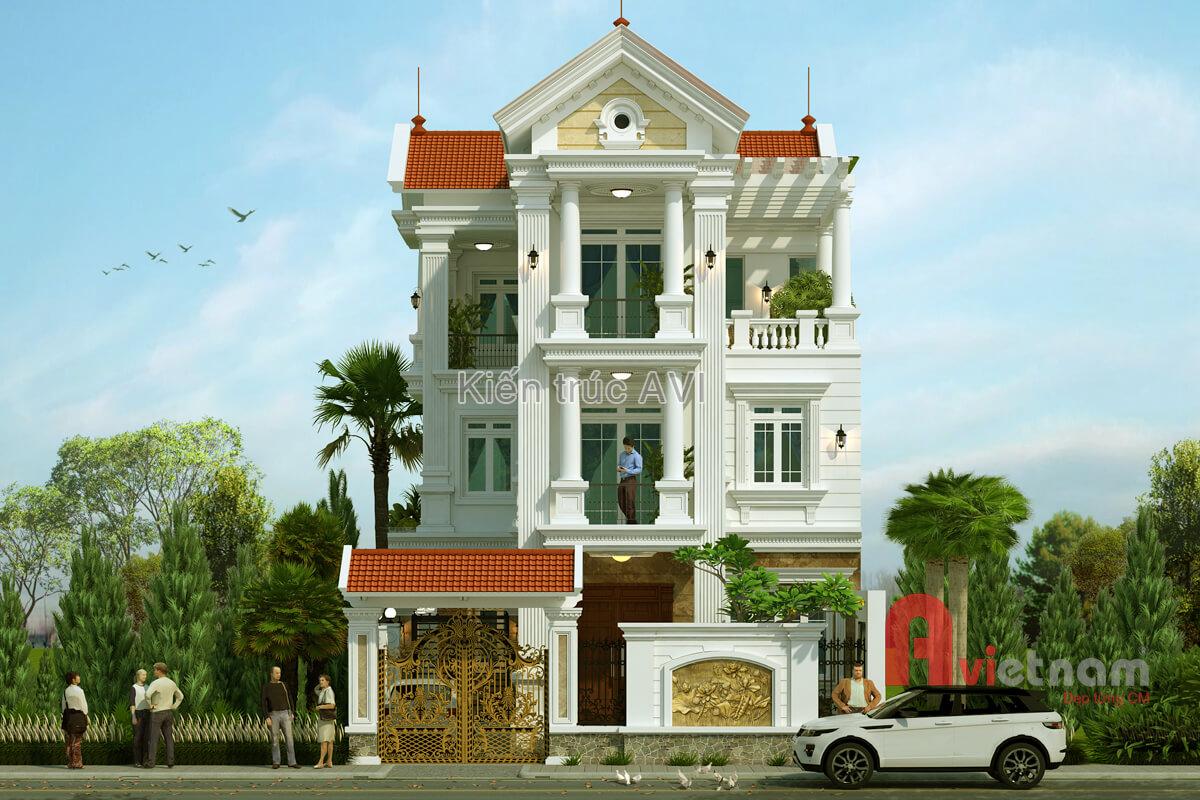 Thiết kế biệt thự 3 tầng tân cổ điển kiểu mái thái
