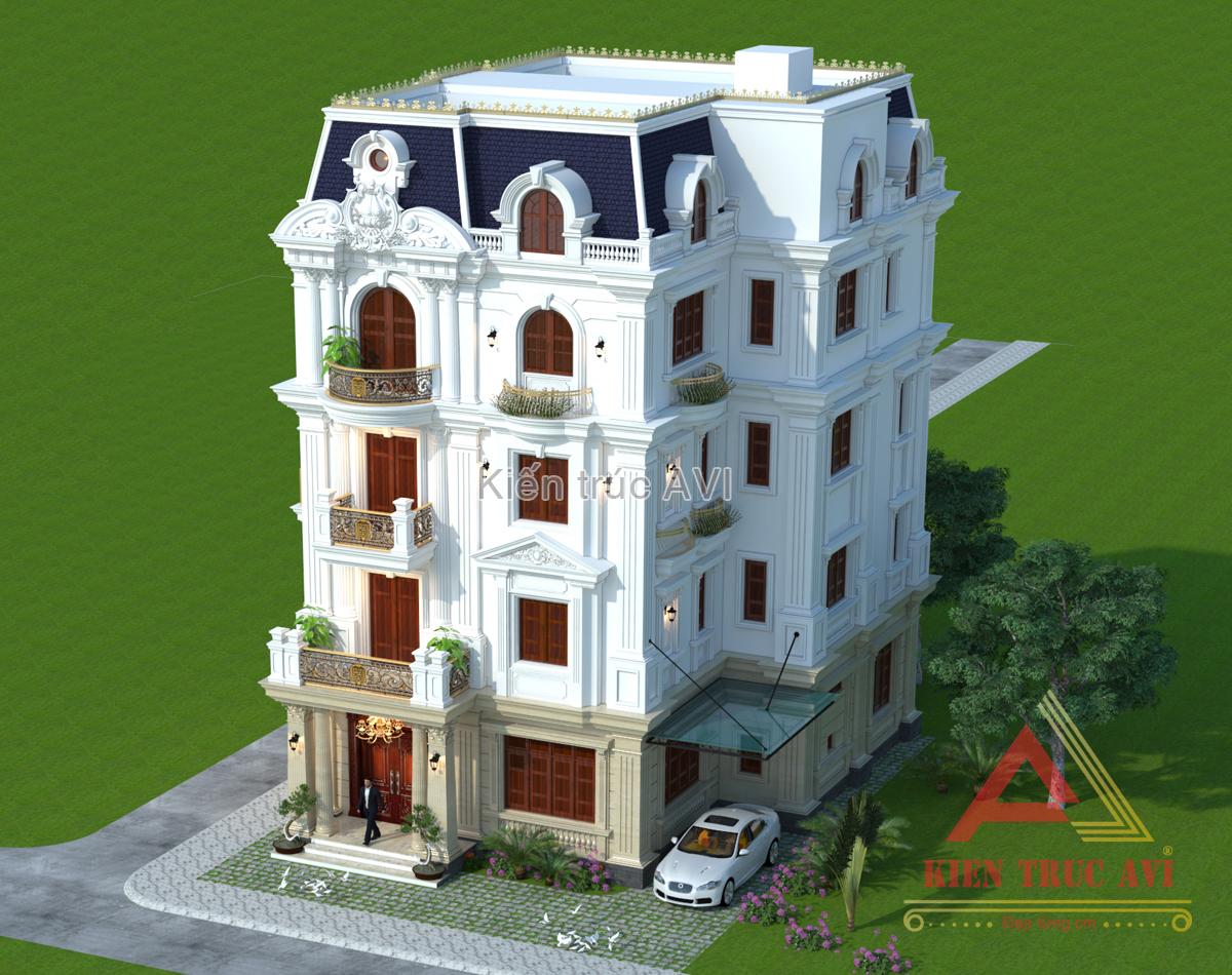 Mẫu thiết kế biệt thự cao cấp 5 tầng mái Mansard