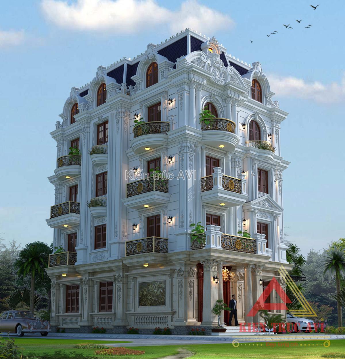 Mẫu biệt thự cao cấp 5 tầng mái mansard