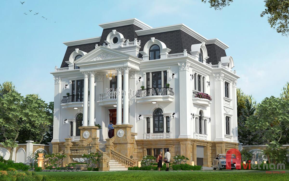 Thiết kế dinh thự cao cấp 3 tầng mái Mansard tại Vĩnh Long