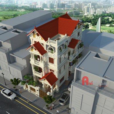 Thiết kế biệt thự 4 tầng kiến trúc pháp cực đẹp
