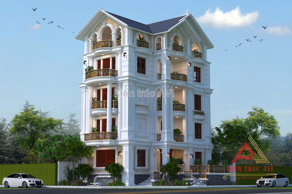 Mẫu thiết kế biệt thự 5 tầng tân cổ điển mái thái