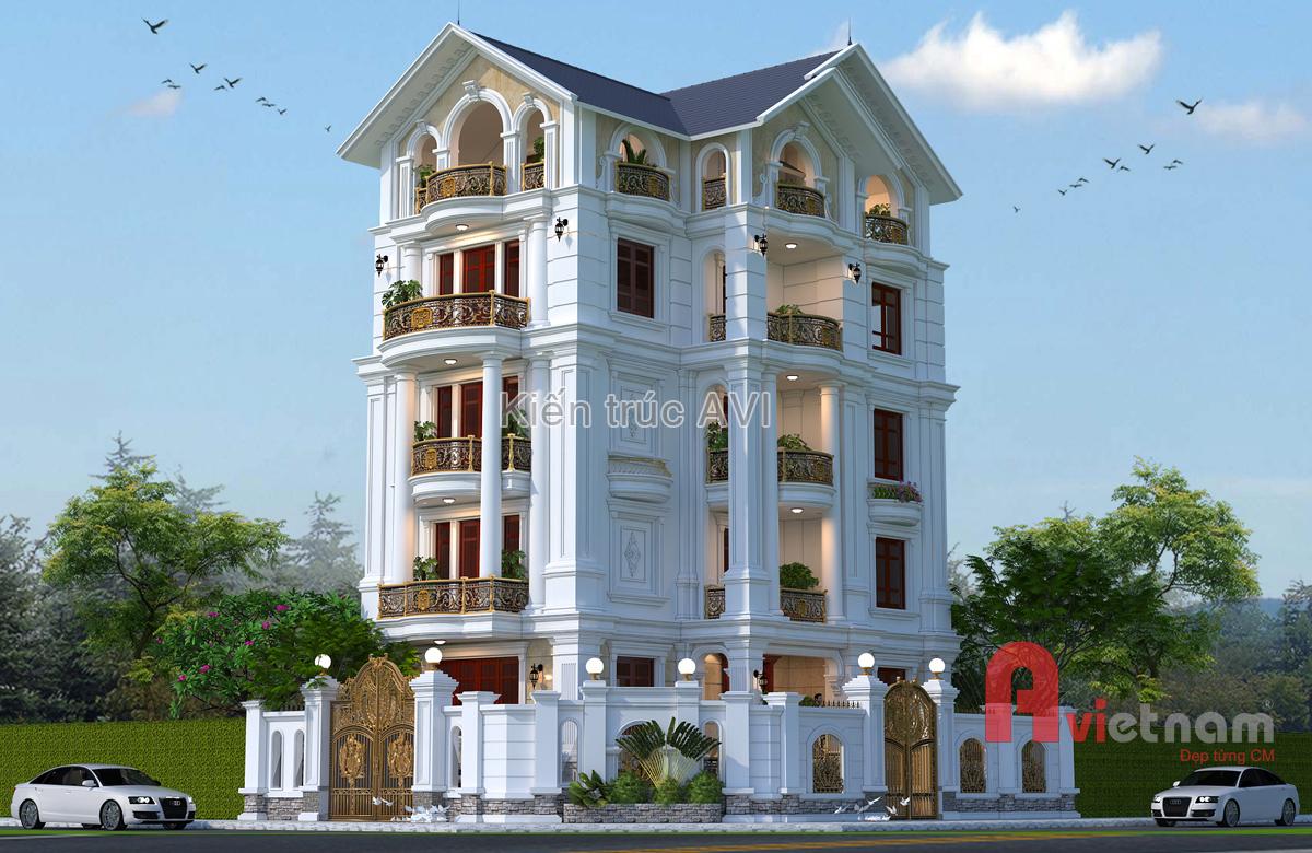 Mẫu thiết kế biệt thự 5 tầng tân cổ điển mái thái tại Hà Nội