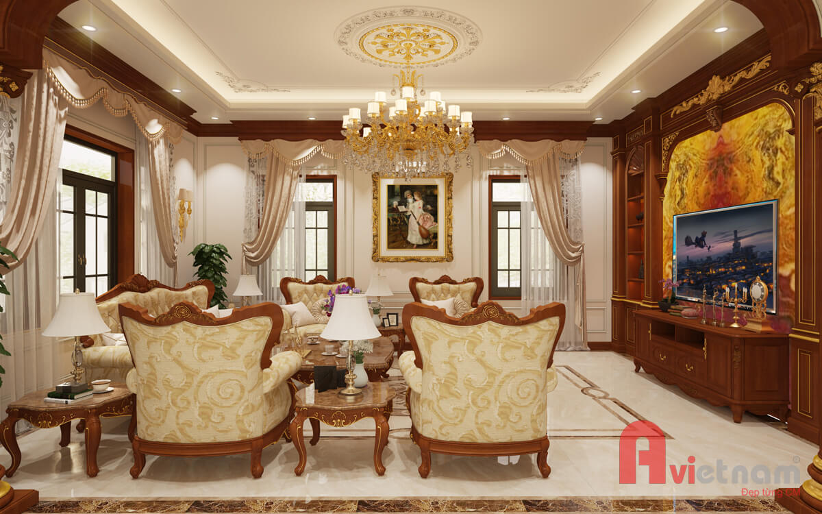 Mẫu thiết kế nội thất tân cổ điển châu âu