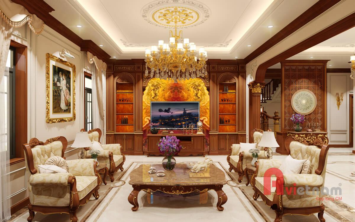 Mẫu thiết kế nội thất tân cổ điển châu âu gỗ gõ đỏ ở Hà Nội