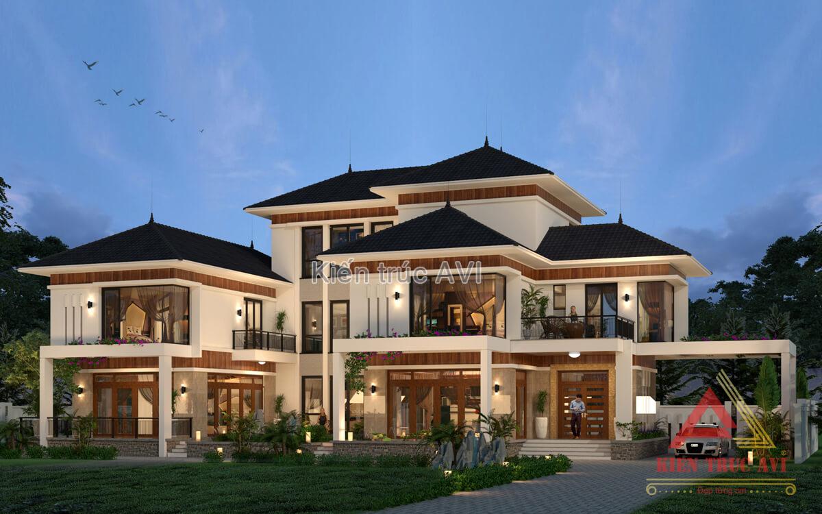 Thiết kế biệt thự hiện đại 3 tầng mái thái