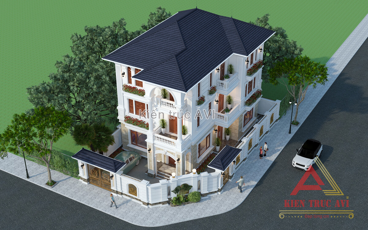 Thiết kế biệt thự 3 tầng tân cổ điển mái thái
