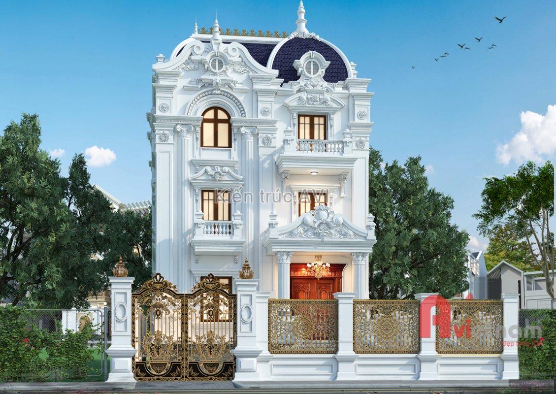 Mẫu thiết kế biệt thự 4 tầng kiến trúc pháp mái Mansard