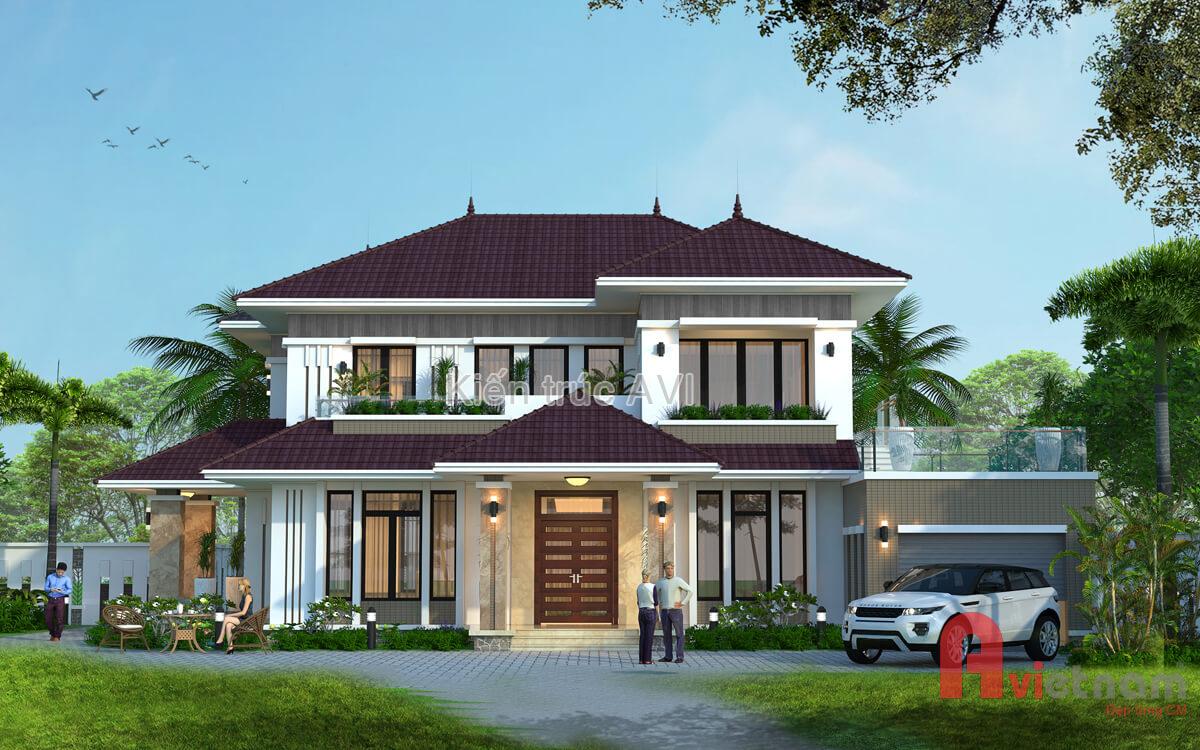 Mẫu thiết kế biệt thự 2 tầng hiện đại mái thái tại Hà Nội