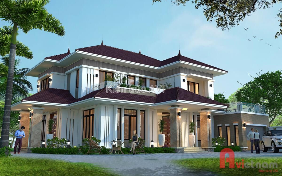 Mẫu thiết kế biệt thự 2 tầng hiện đại mái thái