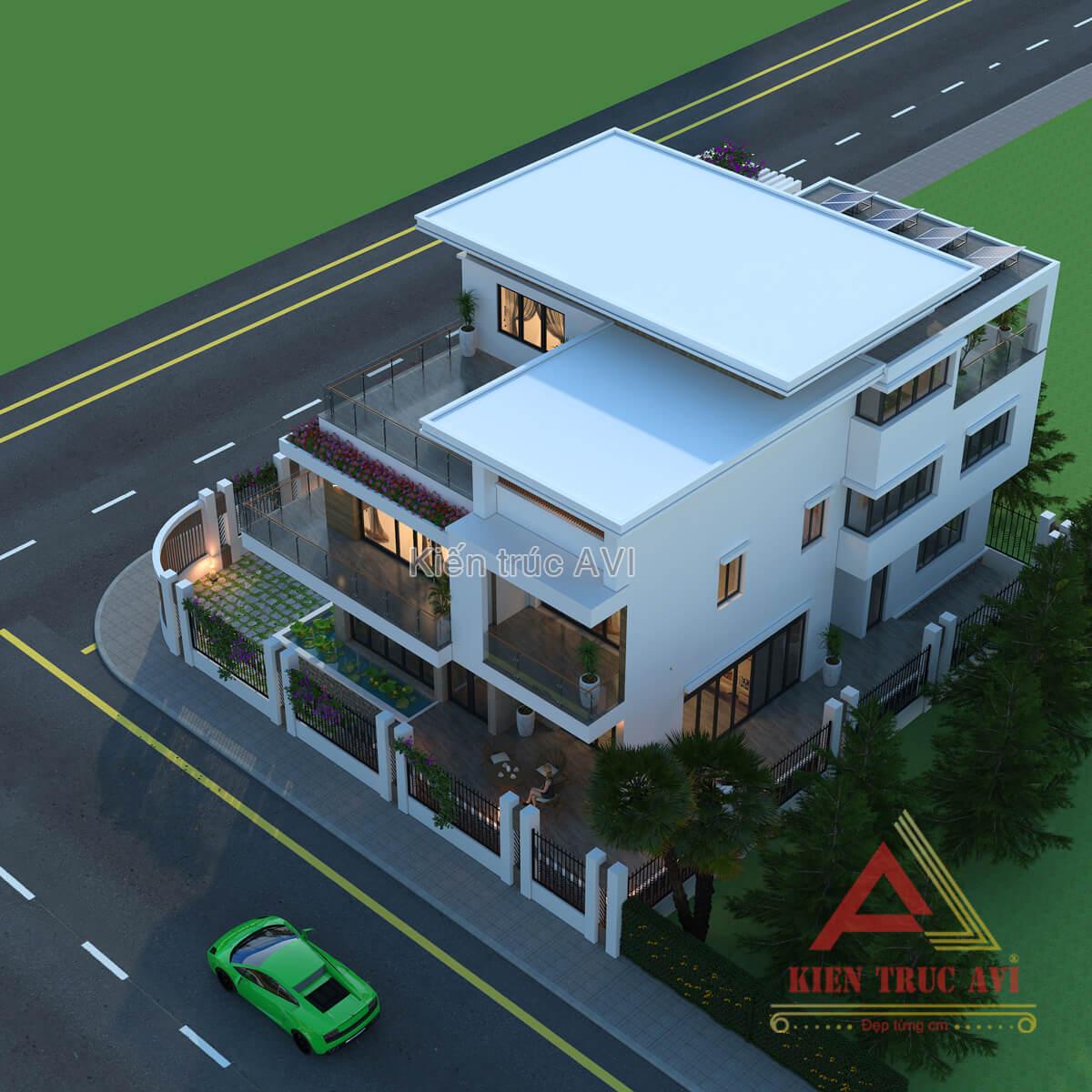 Mẫu biệt thự hiện đại 3 tầng mái bằng