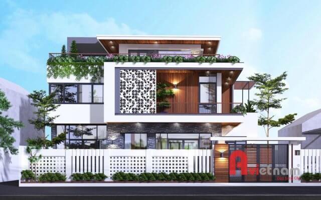 Thiết kế biệt thự hiện đại 3 tầng mái bằng