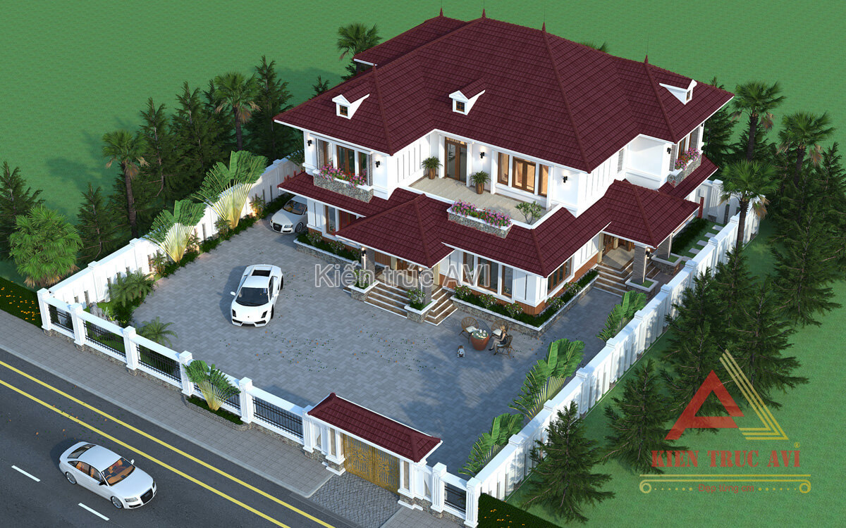 Mẫu thiết kế biệt thự hiện đại 2 tầng mái thái