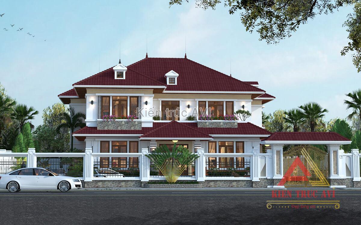 Thiết kế biệt thự 2 tầng kiểu mái thái mang phong cách hiện đại