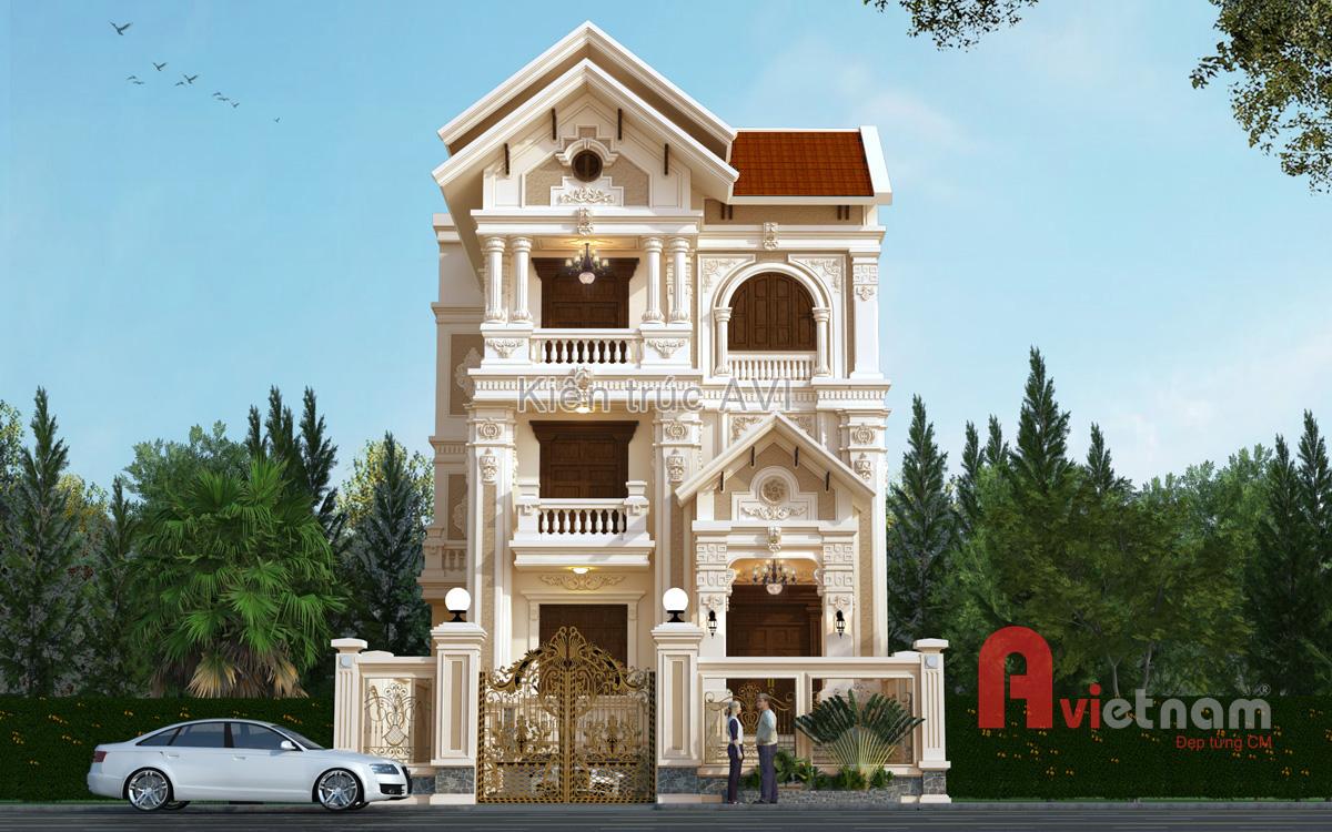 Thiết kế biệt thự 4 tầng kiến trúc cổ điển pháp