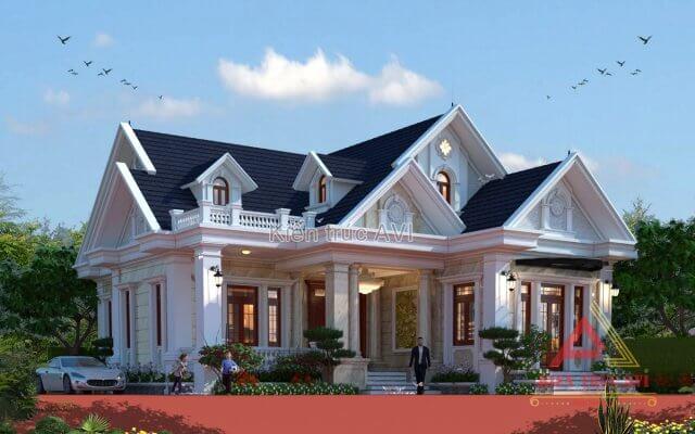 Thiết kế biệt thự vườn 1 tầng mái thái kiến trúc tân cổ điển